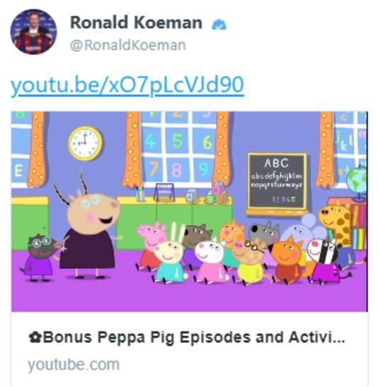 De tweet van Ronald Koeman.