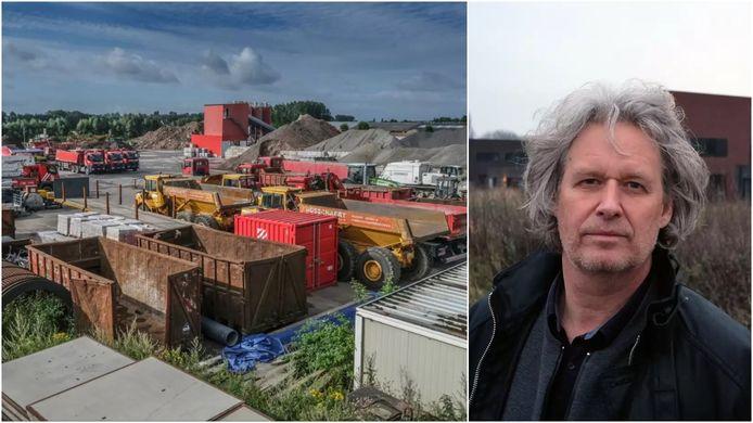Links het terrein van aannemersbedrijf Bosschaert op 't Hoge, rechts schepen Wout Maddens