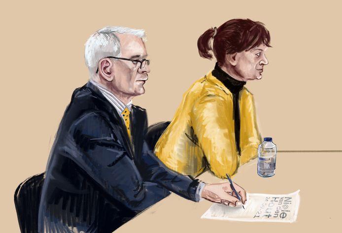 Rechtbanktekening van Bert-Jan van H. in de rechtbank van Den Haag. Hij en zijn ex-vrouw worden verdacht van faillissementsfraude in Gouda.