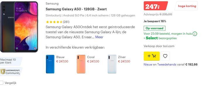 Korting Samsung Galaxy A50 bij Bol.com