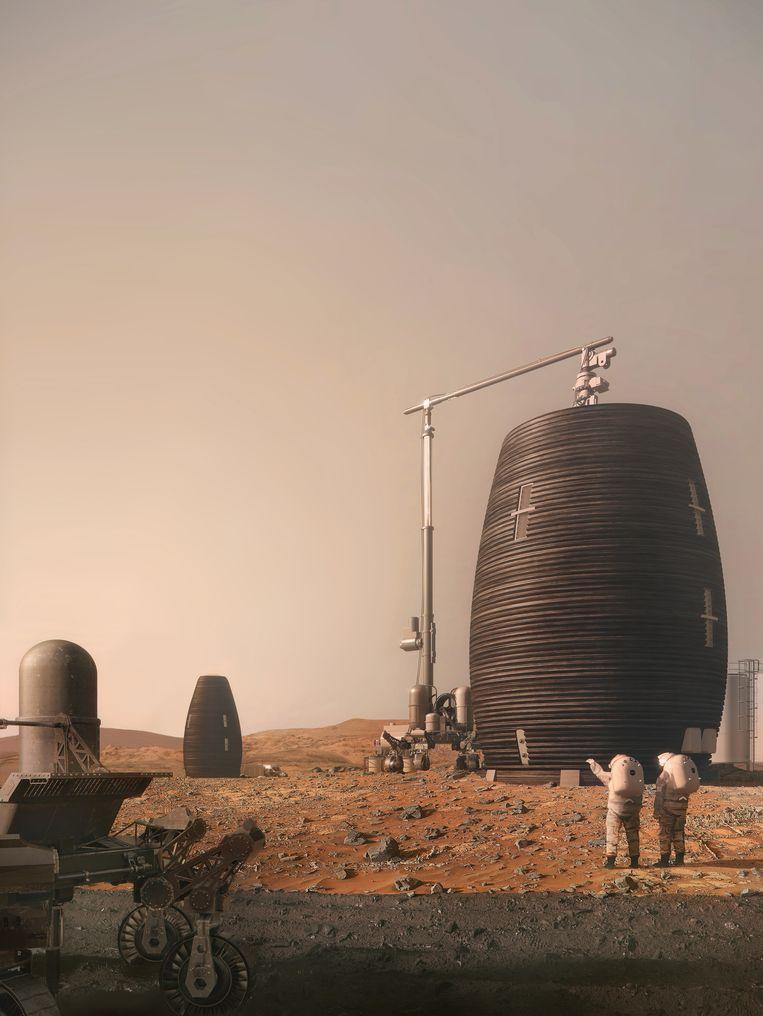 Digitale rendering van een Marsha die op Mars wordt geprint Beeld AI Spacefactory/Plomp