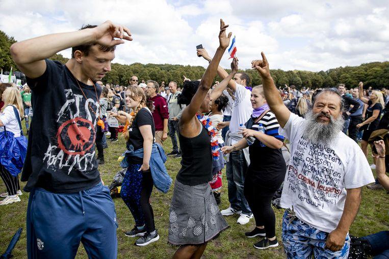 Protest tegen inperking van vrijheden door coronamaatregelen in Den Haag. Beeld ANP