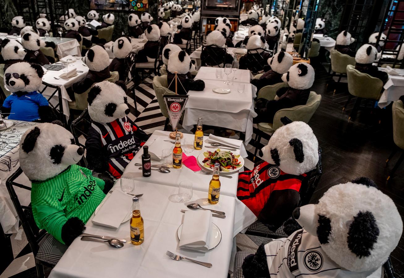 In plaats van mensen hebben Duitse restauranthouders deze aaibare pandaknuffels aan hun tafels gezet. Ook de Duitse horeca is al een paar weken dicht.