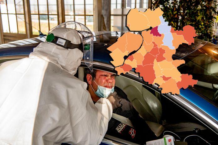 De coronakaart van Oost-Nederland op 27 februari.