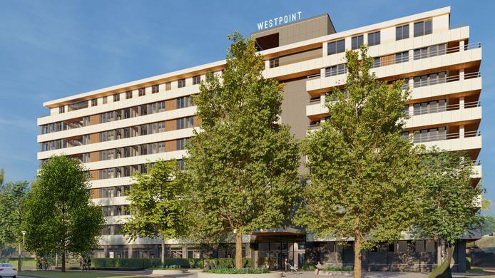 Het verpauperde Westpoint zou er met een verbouwing naar een appartementencomplex zo uit moeten gaan zien.