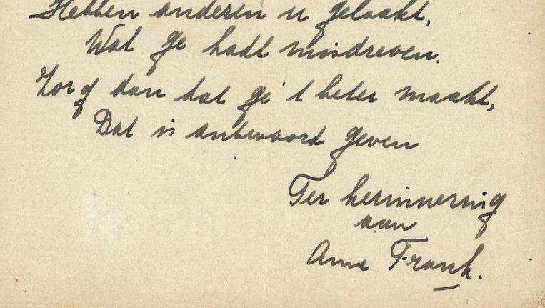Deel van het versje van Anne Frank Beeld Bubb Kuyper Veilingen