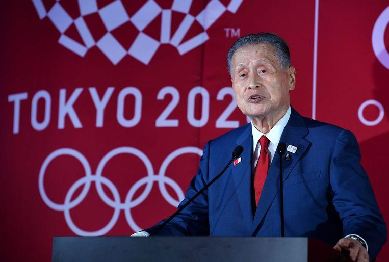 Yoshiro Mori kwam onder vuur na seksistische uitspraken. Beeld AFP