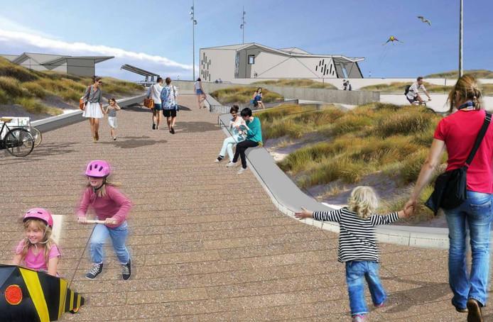 De entree van het strand volgens de plannen van de gemeente Rotterdam.