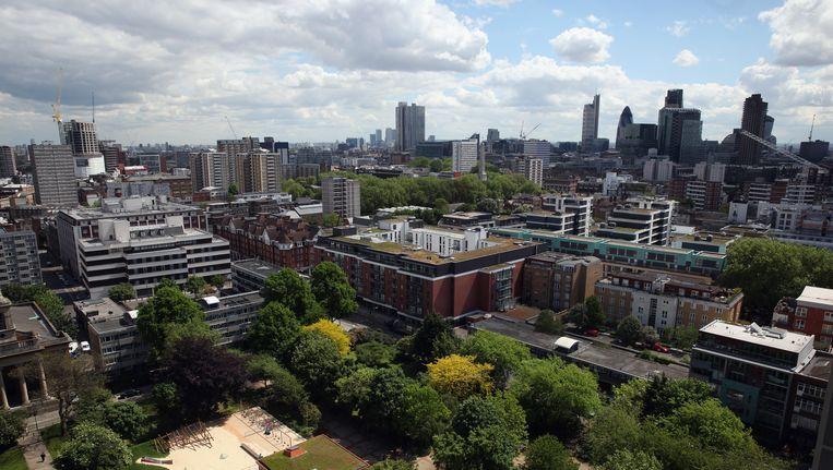 De wijk East End in Londen. In de Briste hoofdstad wonen de meeste miljonairs.