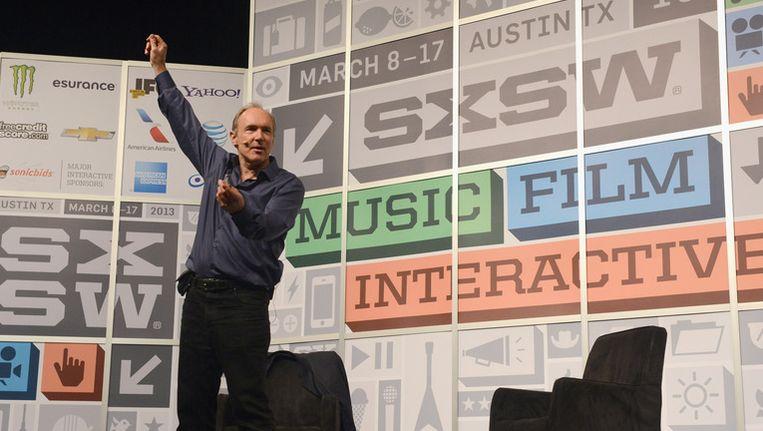 Tim Berners-Lee tijdens zijn toespraak op SXSW. Beeld GETTY