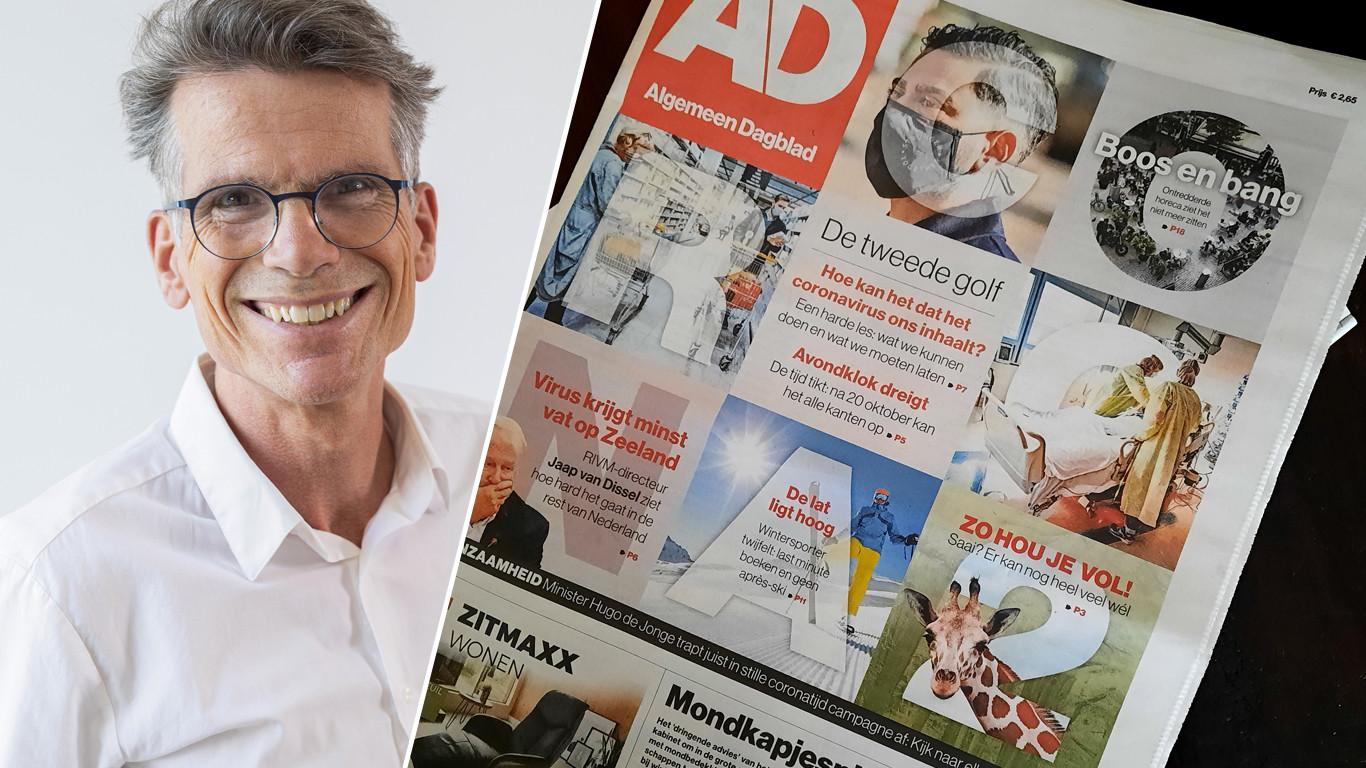 Hans Nijenhuis met de voorpagina van het AD van 30-09-2020.