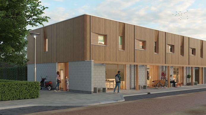 De geheel houten woningen van Woud
