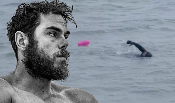 Ross Edgley zwom 12 uur per dag waarin hij 30 tot 50 kilometer aflegde.