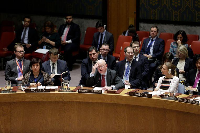 De Russische VN-ambassadeur Vassily Nebenzia. Beeld