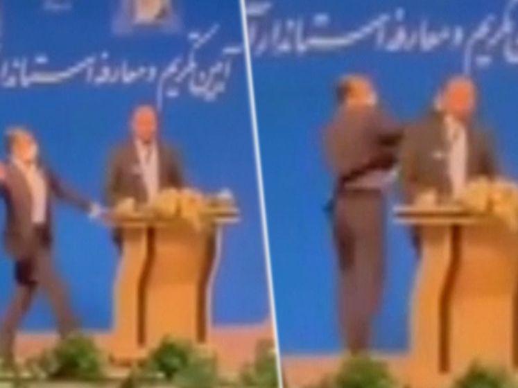 Ongezien: Iraanse gouverneur krijgt klap in gezicht tijdens toespraak