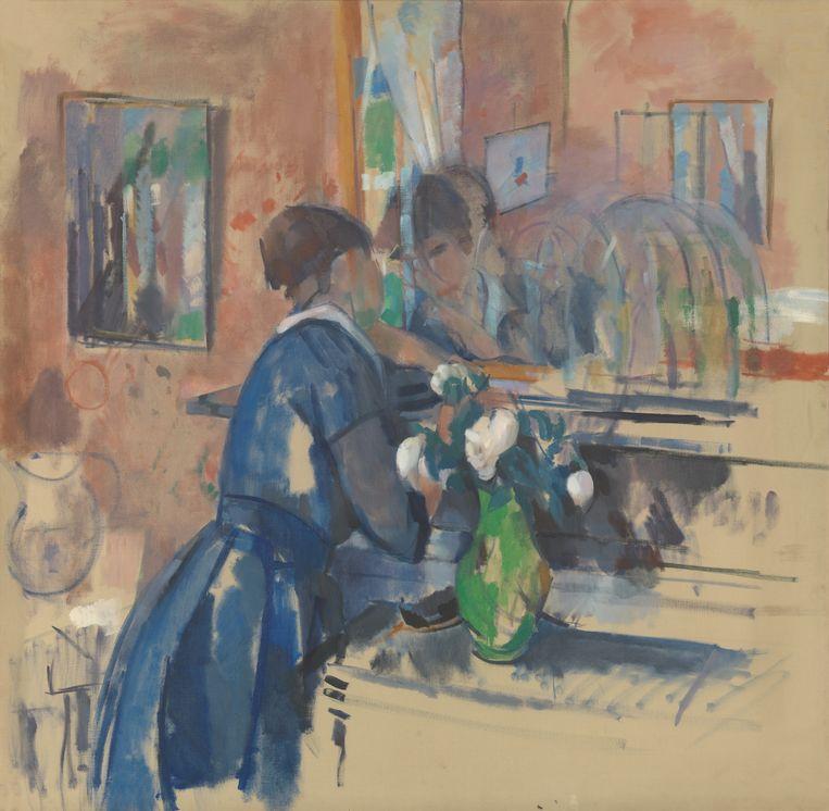 Dame in het blauw voor een spiegel, 1914, olieverf op doek. Beeld rv © Koninklijke Musea voor Schone Kunsten van België, Brussel / foto : J. Geleyns - Ro scan