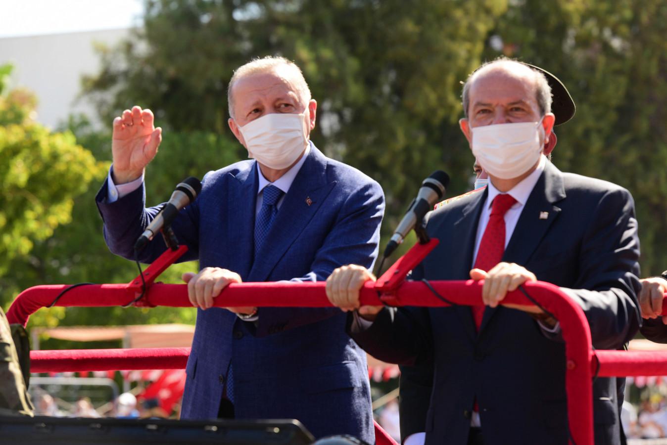 Recep Tayyip Erdogan et le leader nord-chypriote Ersin Tatar