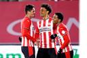 De Jong PSV'ers Luis Felipe, Fodé Fofana en Shurandy Sambo zijn blij na een treffer.
