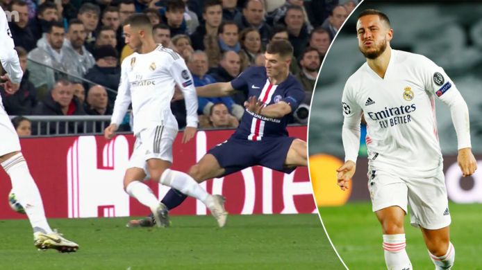 26 novembre 2019. Lors d'un match entre le Real et Paris, Eden Hazard sort sur blessure après un contact avec Thomas Meunier. Un an et demi plus tard, le Diable n'est jamais prévenu à enchaîner les matches puisque cette blessure en a effectivement entraîné d'autres