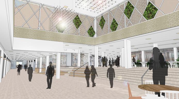 Een impressie van het nieuwe binnenplein van winkelcentrum In den Vijfhoek
