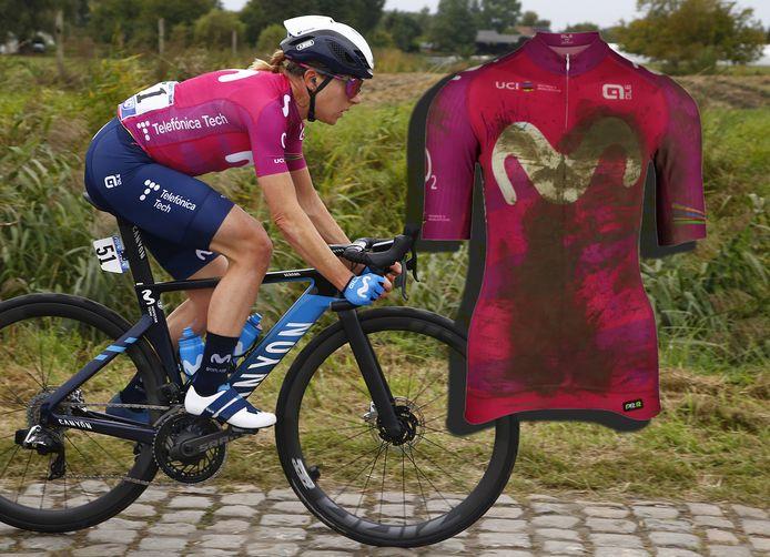 Foto: Van Vleuten aan het begin van Parijs-Roubaix.  Inzet: Het shirt dat voor 2900 euro verkocht is.