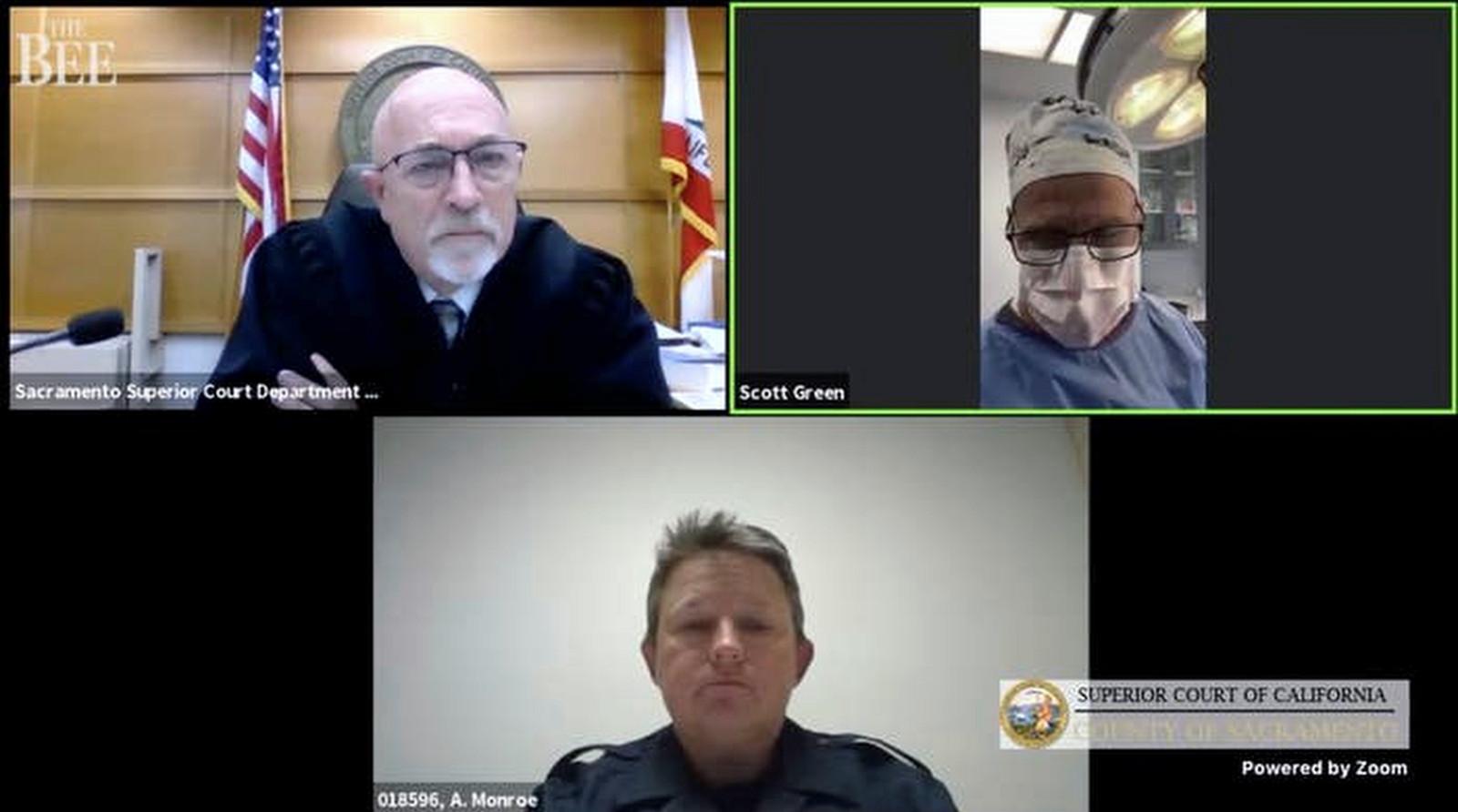De zoom-meeting met Dr. Scott Green (rechtsboven) en de rechtbank in Sacramento.