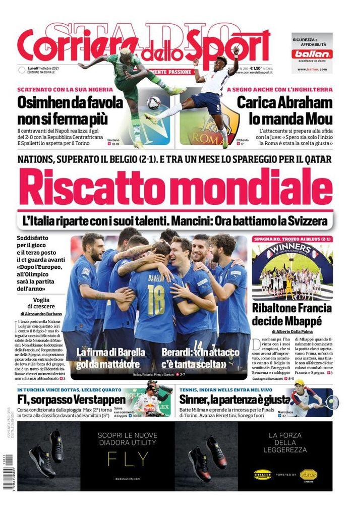 Halaman depan Corriere dello Sport.