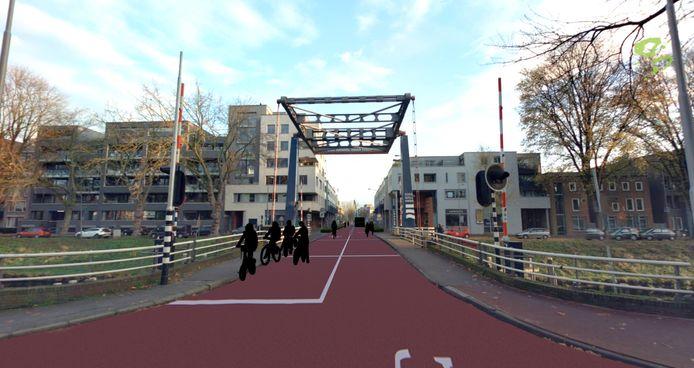 De inrichting van de Van Berckelstraat in Den Bosch als fietsstraat wordt doorgetrokken tot over de Kasterensbrug.
