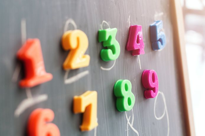 stockadr school onderwijs Multiple colorful magnets with numbers on a blackboard.
