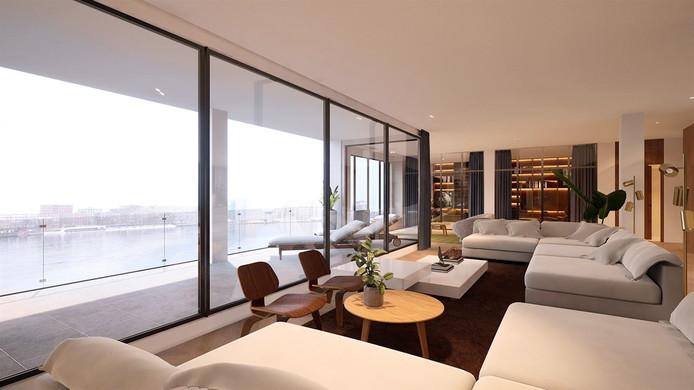 Een van de appartementen bovenin het markante Pontsteiger-gebouw in Amsterdam.