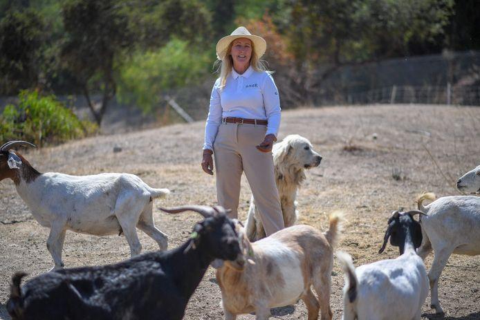 Alissa Cope en haar geiten, en hond.