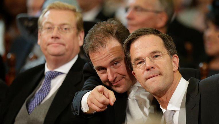 Minister Ard van der Steur (Justitie), minister Lodewijk Asscher (Sociale Zaken) en premier Mark Rutte tijdens de troonrede op Prinsjesdag. Beeld anp