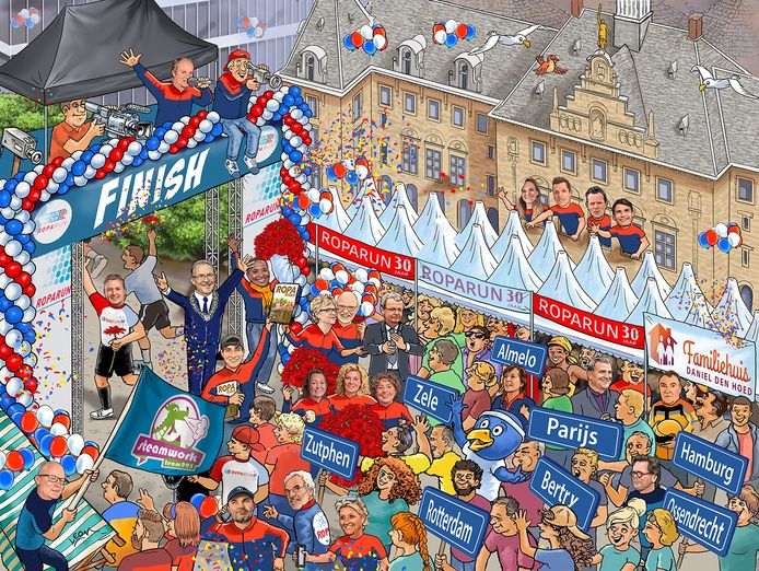 De cartoonpuzzel met bij de finish de Rotterdamse burgemeester Ahmed Aboutaleb.