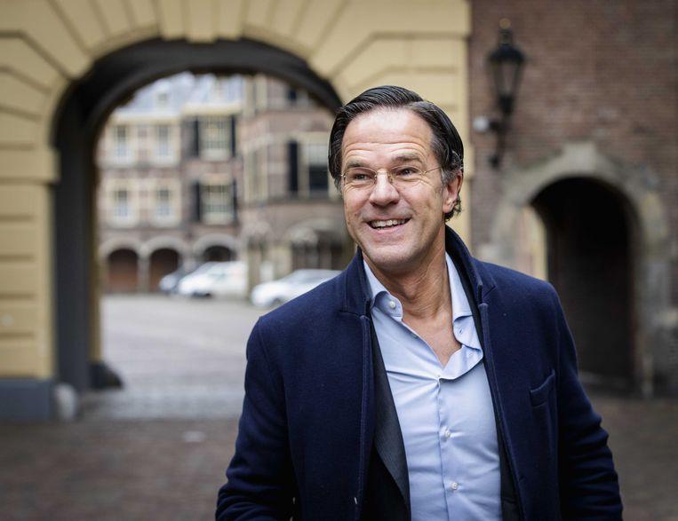 Premier Mark Rutte komt aan op het Binnenhof voor de wekelijkse ministerraad.  Beeld ANP
