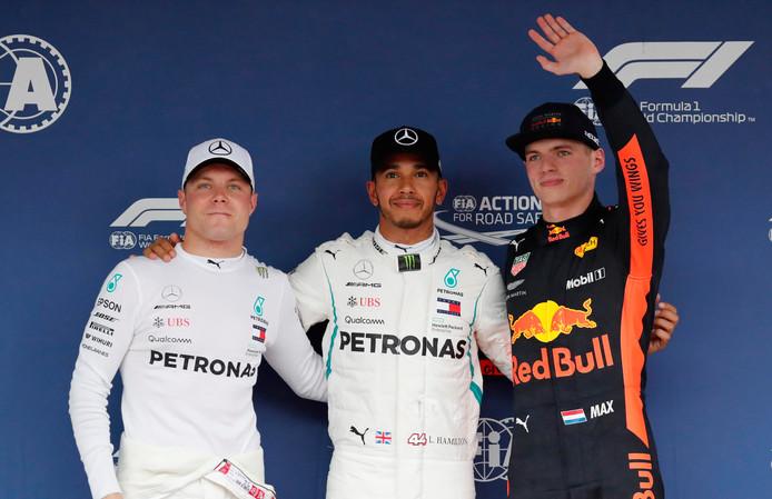 Vlnr: Valtteri Bottas, Lewis hamilton en Max Verstappen.