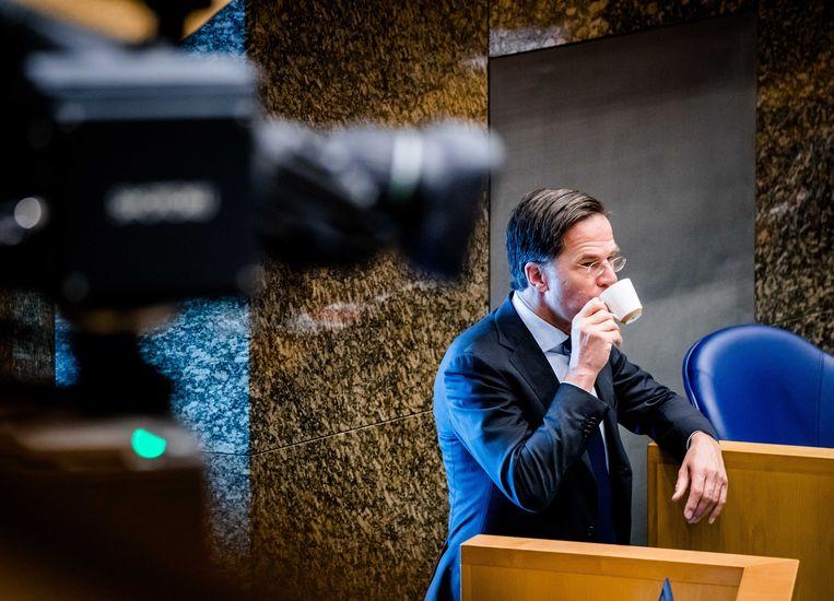 Mark Rutte tijdens het debat in de Tweede Kamer over het eindverslag van informateur Mariette Hamer. Beeld ANP