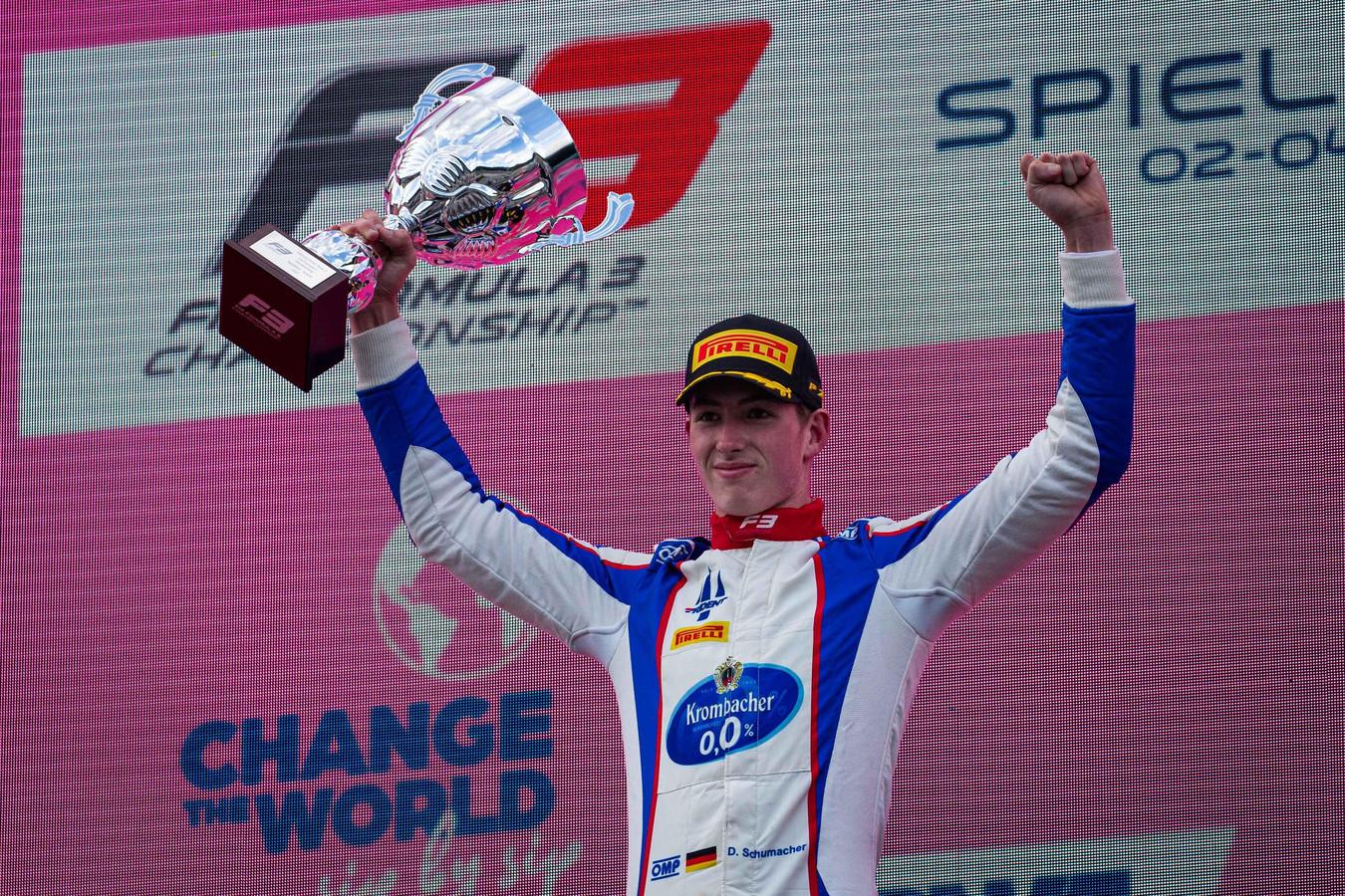 David Schumacher na zijn eerste zege in de Formule 3.