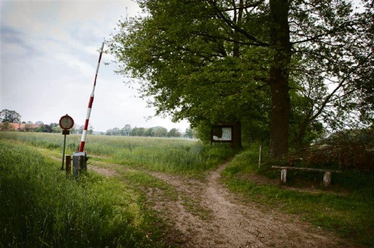 Een grenspad bij IJzerlo voert door de ruisende roggevelden. Een verweerde slagboom en een Bocholts VVV-bord geven aan dat Duitsland hier begint. (FOTO HERMAN ENGBERS) Beeld