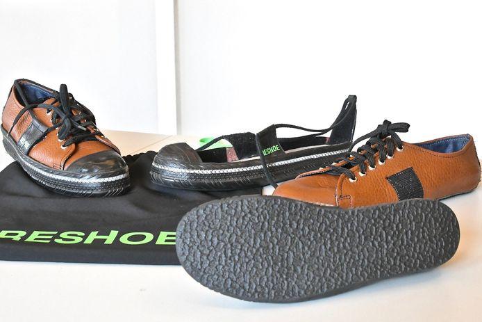De Reshoe is gemaakt van gerecycleerde fietsbanden en bestaat uit een basisframe en een aanpasbare schacht.