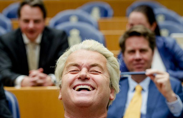Geert Wilders tijdens de stemming over een nieuwe voorzitter in de Tweede Kamer. Beeld ANP