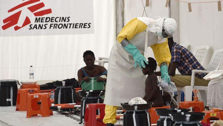 Een ziekenhuis waar ebolapatienten worden behandeld in Liberia (2014) Beeld afp