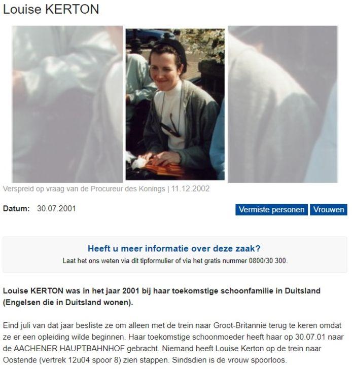 Het opsporingsbericht van Louise Kerton.