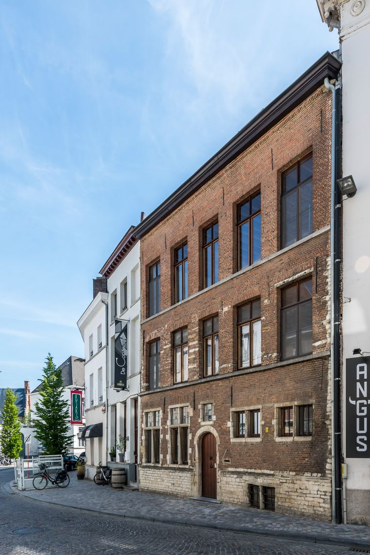 De historische gevel stamt uit de 17de eeuw.De tweede verdieping werd er wellicht later opgezet.  Beeld Luc Roymans