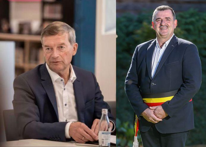 Bilzens burgemeester Johan Sauwens (Trots op Bilzen) en Werner Raskin (VLD Plus), de burgemeester van Hoeselt.