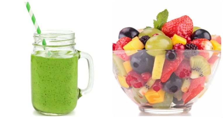 Een fruitsalade bevat veel minder suiker dan een smoothie.