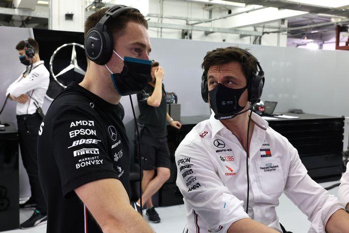 Stoffel Vandoorne met Toto Wolff, teambaas van Mercedes.