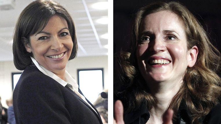 De twee kandidaten voor het Parijse burgemeesterschap: Anne Hidalgo en Nathalie Kosciusko-Morizet. Beeld ap