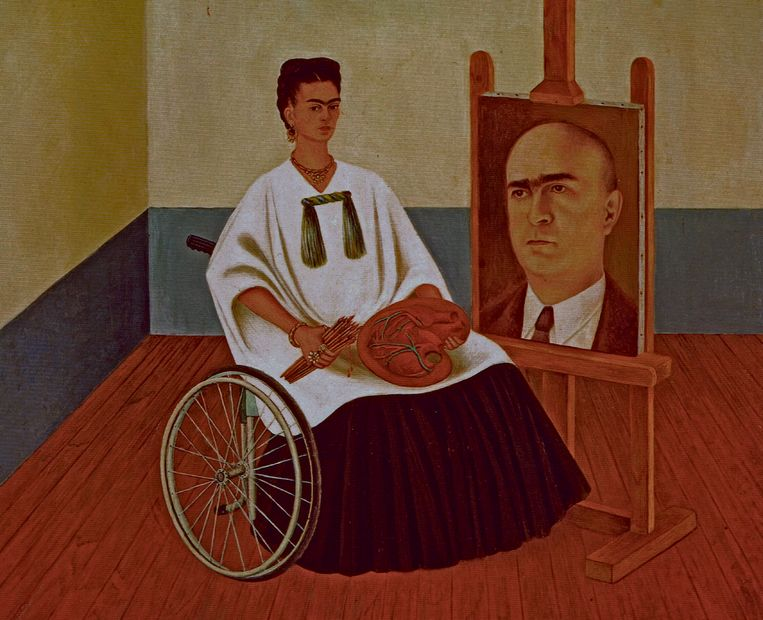 Frida Kahlo, Self-portrait with portrait of Doctor Farill, 1951. Beeld Alamy Stock Photo