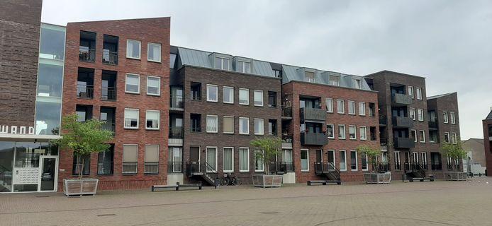 De mobiele plantenbakken met bomen geven het Anton Pieckplein in Kaatsheuvel nu nog een groen tintje.