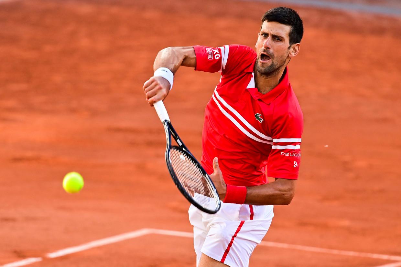 De matchbal van Novak Djokovic in Parijs. Beeld Photo News